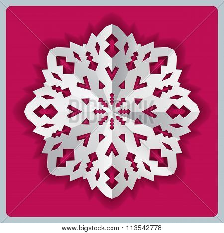 Christmas paper snowflake origami icon. Paper cut out sign with shadow. White on magenta. Vector