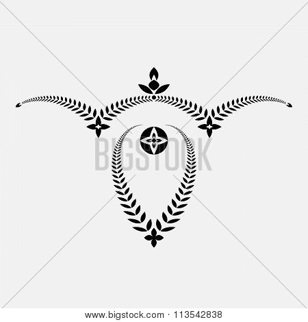 Laurel wreath tattoo. Decorative bowl, goblet icon. Victory, peace, glory, summit symbol. Black sign
