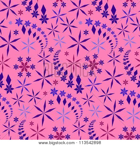 Seamless christmas pattern. Snowflakes, crystals on pink rose background. Lilac, violet, vinous star
