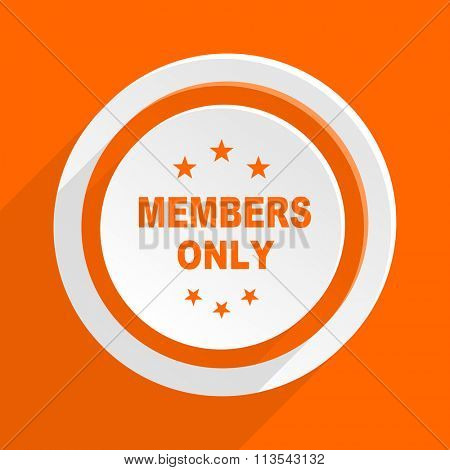 members only orange flat design modern icon for web and mobile app