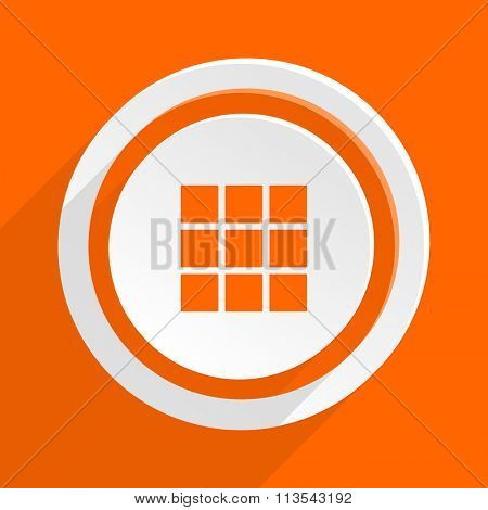 thumbnails grid orange flat design modern icon for web and mobile app