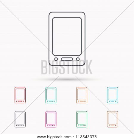 Tablet PC icon. Touchscreen pad sign.