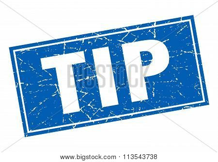 Tip Blue Square Grunge Stamp On White