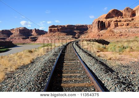 Potash Railroad through Sandstone Canyon in Utah