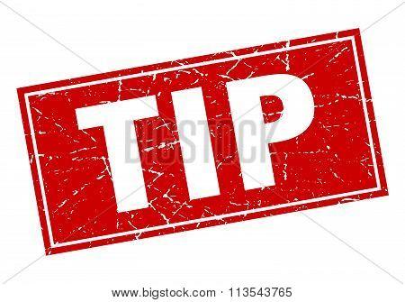 Tip Red Square Grunge Stamp On White