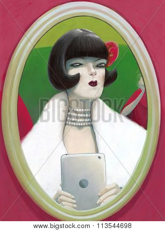 The illustration of a  young woman wearing a fur coat and her hair in a bob doing selfie in front of the mirror, 1920s style