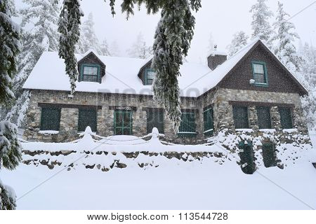 January 7, 2015 in Mt Baldy, CA:  Snow blanketing the historic Harwood Lodge built in 1930 which is owned by the Sierra Club and where members can stay overnight taken in Mt Baldy, CA
