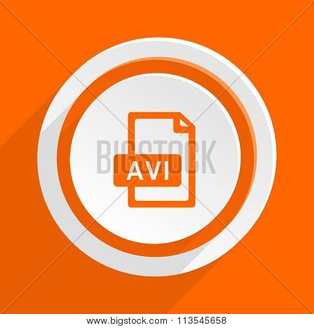 avi file orange flat design modern icon for web and mobile app