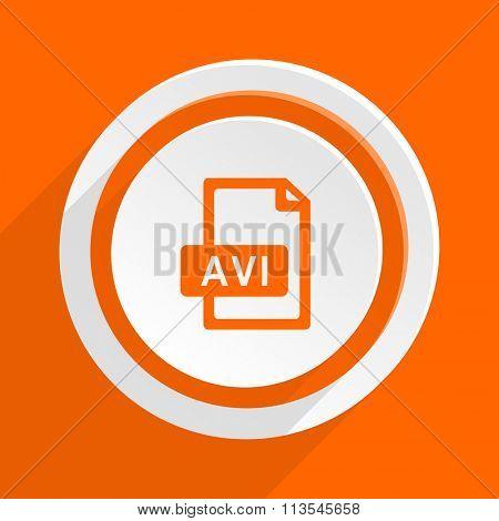 avi file orange flat design modern icon for web and mobile app