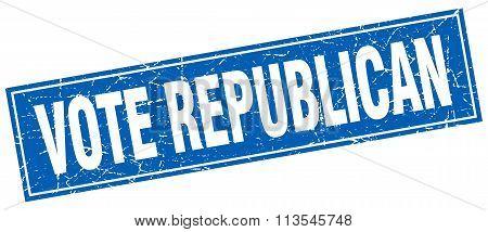 Vote Republican Blue Square Grunge Stamp On White