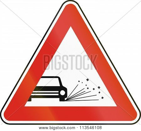 Road Sign Used In Slovakia - Loose Chippings
