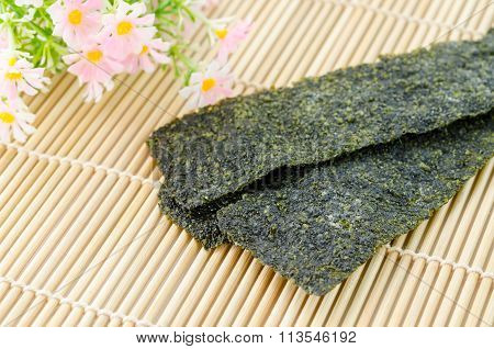 Fried Seaweed On Bamboo Mat.