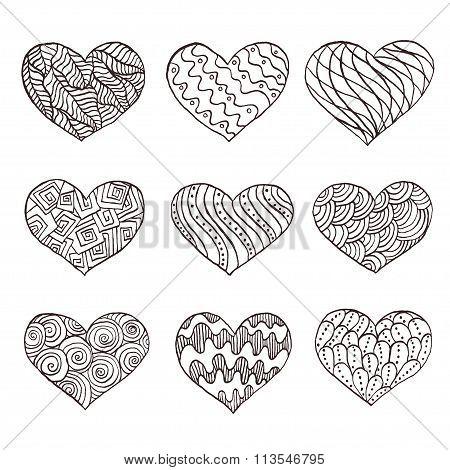 Set of hand drawn hearts. Ornate ink drawing. Vector illustration.