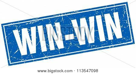 win-win blue square grunge stamp on white