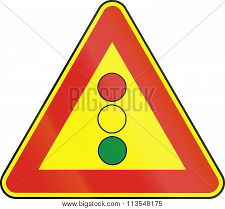 Road Sign Used In Slovakia - Traffic Lights (as A Temporary Sign)