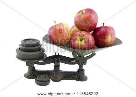 Antique Kitchen Scales With 5 Apples