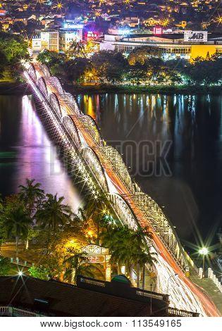 Trang Tien Bridge shimmering lights by night