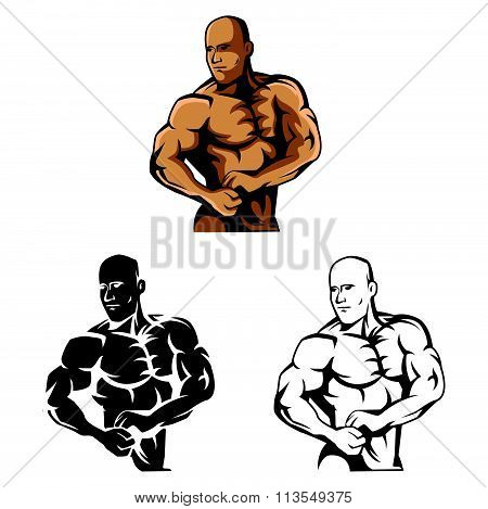 Coloring book Body Builder cartoon character - vector illustration .EPS10