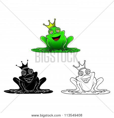 Coloring book Frog King cartoon character - vector illustration .EPS10