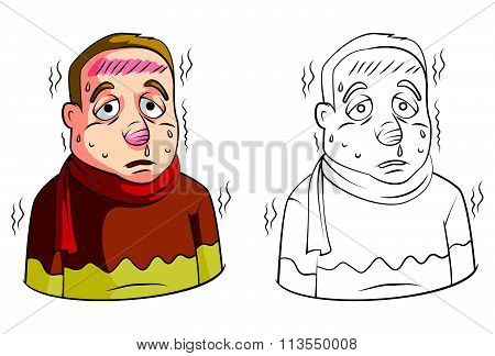 Coloring book High Fever Man cartoon character