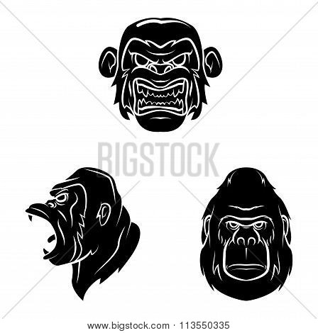 Tattoo Symbols Of Gorilla .eps10 editable vector illustration design