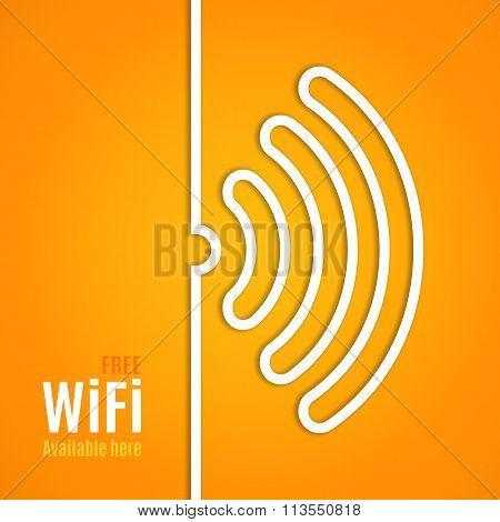 WiFi icon on orange background. illustration