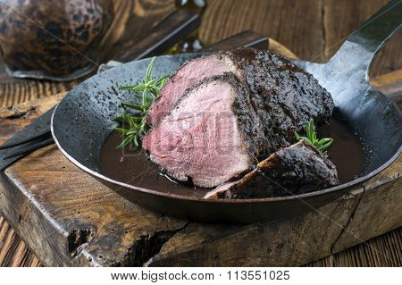 Wild Boar Roast in Pan