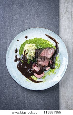 Roast Boar Neck with Potato Puree