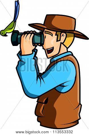 Man bird watching vector illustration design