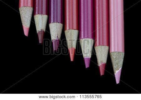 7 Red Pencils - Black Background