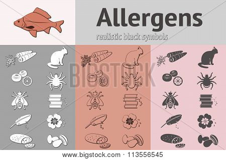 Allergen set. Fish, cat, insect, honey, bee, apple, mandarin, hackle, book, dust, pollen icons. Food