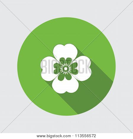 Spring flower. Camomile, Chamomile, forget-me-not icons. Floral symbol. Round flat icon with long sh