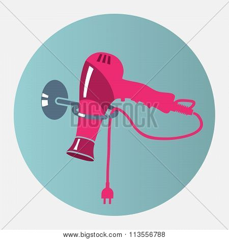 Hairdryer, blow dryer with two-pin plug on stand icon. Professiona hairdresser tool symbol. Magenta,