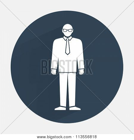 Man icon. Office worker, people symbol. Standing figure in suit, tie, glasses. Round dark gray sign