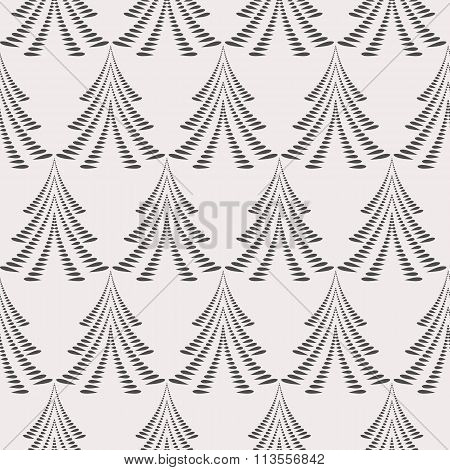 Seamless Christmas pattern. Stylized ornament of trees, firs on light gray background. Winter, New Y
