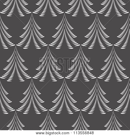 Seamless Christmas pattern. Stylized ornament of trees, firs on dark gray background. Winter, New Ye