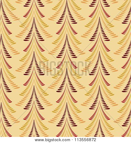 Seamless Christmas pattern. Stylized ornament of trees, firs on yellow background. Winter, New Year,