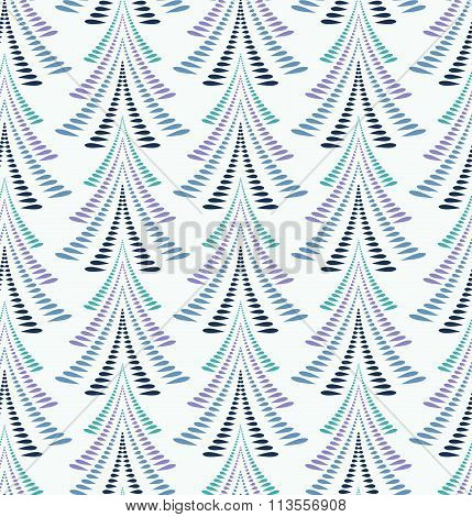 Seamless Christmas pattern. Stylized ornament of trees, firs on light blue background. Winter, New Y