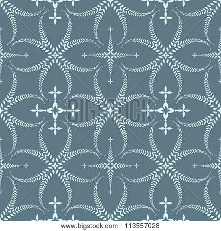 Religion seamless pattern. Laurel wreath, lace view texture with cross. Ceremonial background. Gray,
