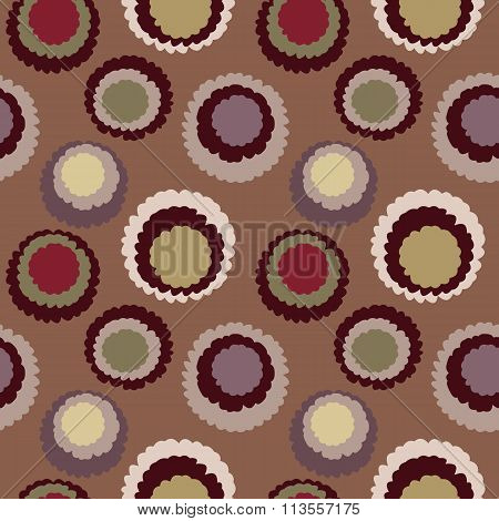 Abstract seamless spotty pattern. Polka dot, motley texture. Circles with torn paper effect. Brown,