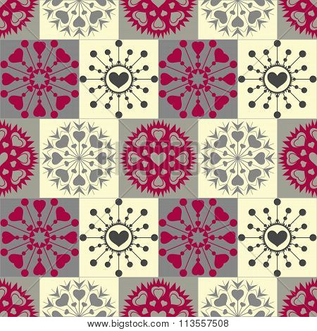 Christmas seamless pattern of heart snowflakes. New Year, Valentine, birthday texture. Cold gray, re