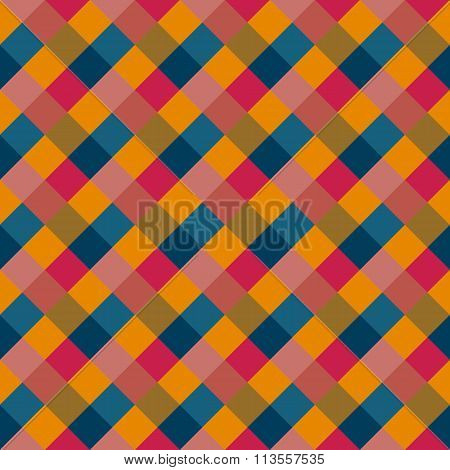 Seamless geometric checked pattern. Diagonal square, woven line. Rhombus texture. Variegated kitsch,