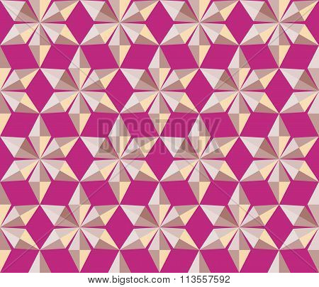 Seamless christmas pattern. Crystal  shining snowflakes. Gold stars on magenta background. Winter, h