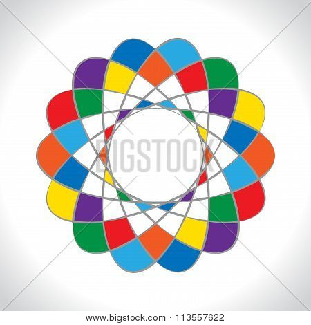Abstract geometric logo icon. Rainbow style colored symbol on light gray background. Vector