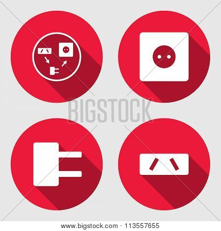 Adapter, electric socket base icon set. European, Australian standard symbol. Round red signs with l