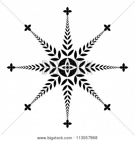 Laurel wreath tattoo icon. Aster sign of eight rays. Black ornament on white background. Defense, gl