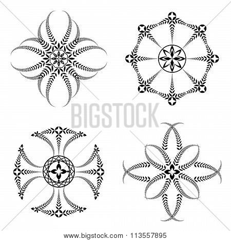 Laurel wreath tattoo icon set. Cross stylized ornaments, black signs on white. Victory, defense, glo