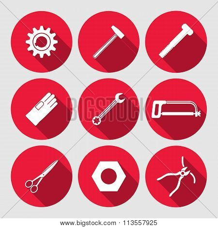 Tools icons set. Saw, pliers, tongs, wrench key, cogwheel, hammer, gloves, screw bolt, nut, scissors