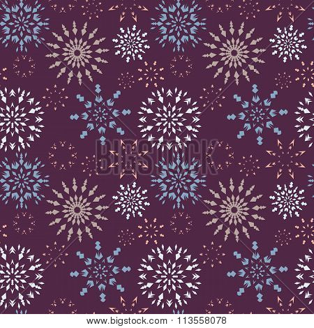 Christmas seamless pattern. Light snowflake signs on dark purple background. Winter retro texture. V