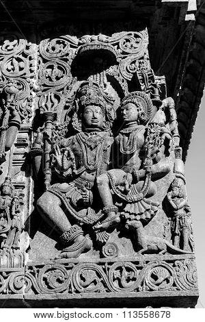 Statue of Lord Shiva with Parvati Devi at Hoysaleswara Temple, Halebidu taken on December 30th, 2015